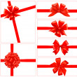 Set of red gift bows with ribbons. Vector. - Imagens vectoriais em stock