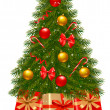 Christmas tree and gifts. Vector illustration. - Imagens vectoriais em stock