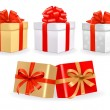 Royalty-Free Stock Imagen vectorial: Set of colorful vector gift boxes with bows and ribbons.