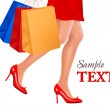 Waist-down view of shopping woman wearing red high heel shoes and carrying — Stock Vector