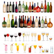 Stock Vector: Set of different drinks and bottles on the wall. Vector illustration