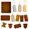 Set of leather labels and tags. — Stock Vector