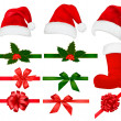 Collection of red santa hats with and Christmas holly and ribbons. Vector. — Stock Vector #7835776