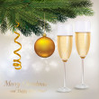Illustration. Two glasses of champagne and a two balls and tree. — Stock Vector