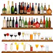 Set of different drinks and bottles on the wall. Vector illustration. — Stock Vector