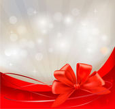 Background with red bow and ribbons. Vector illustration. — 图库矢量图片
