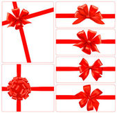 Set de regalo roja arcos con cintas. vector. — Vector de stock