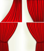 Set of backgrounds with red velvet curtain. Vector illustration. — Vector de stock