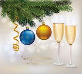 插图。两杯香槟,两个球和树. — 图库矢量图片