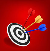 Colorful darts hitting a target. Success concept. — Stock Vector
