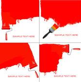 赤のローラーは白い壁を塗るします。ベクトル. — ストックベクタ