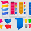 Big collection of colorful origami paper banners and stickers. Vector illus — Stock Vector
