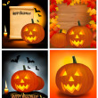 Set of Halloween background with scary pumpkins, bats, cat eyes and a candl - Stock Vector