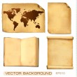 Set of old paper sheets and map. Vector illustration. — Stock Vector #7855284