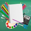 Back to school. Notepad with school supplies. Vector. — Stock Vector #7855330