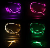 Set of abstract neon speech bubble banners. Vector. — Stock Vector