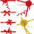 Collection of red bows with ribbons. Vector. — ストックベクタ