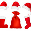 Three red santa hats. Christmas stocking and boot and bag. - Stock Vector