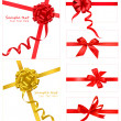 Collection of red bows with ribbons. Vector. — Imagen vectorial
