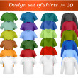 Color and white men polo shirts and t-shirts. Photo-realistic vector illust — Image vectorielle