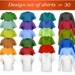 Color and white men polo shirts and t-shirts. Photo-realistic vector illust — Векторная иллюстрация