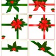 Collection of red and green bows with ribbons and holly. Vector. — Cтоковый вектор