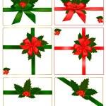 Auflistung von roten und grünen Bögen mit Bändern und Holly. Vektor — Stockvektor