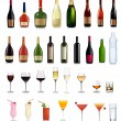 Set of different drinks and bottles. Vector illustration. — Stock Vector #7871186