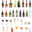 Set of different drinks and bottles. Vector illustration. — Stockvector  #7871186