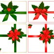 Collection of red and green bows with ribbons and holly. Vector. — Vecteur