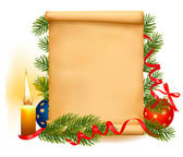 Christmas decorations on the old paper. Vector. — Stockvector