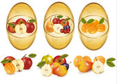 Three labels with different sorts of fruit. Vector. — Stock Vector