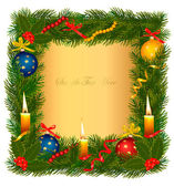 Christmas background with christmas tree and candle. Vector illustration. — Stock Vector