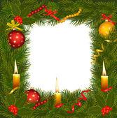 Noel ağacı ve mum noel çelenk. vektör çizim. — Stok Vektör