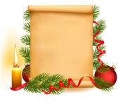 老纸上的圣诞装饰品。矢量. — 图库矢量图片