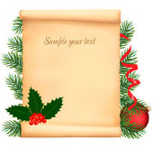 Christmas decorations on the old paper. Vector. — 图库矢量图片