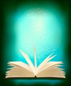 Otevřeno Kouzelná kniha kouzelné světlo. vektorové ilustrace. — Stock vektor