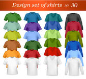 Color and white men polo shirts and t-shirts. Photo-realistic vector illust — Vettoriale Stock