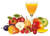 Frutas frescas y jugos. ilustración vectorial. — Vector de stock