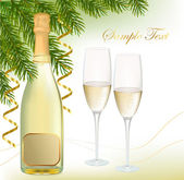 Vector illustration. Two glasses of champagne and bottle. — Stock Vector