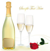 Vector illustration. Two glasses of champagne and bottle. — 图库矢量图片