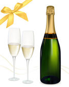 Vector illustration. Two glasses of champagne and bottle. — Stockvector