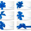Big set of blue gift bows with ribbons. Vector. — Stock Vector