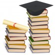 Graduation cap and diploma laying on stacks of books. Vector. — Stock Vector