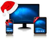 Christmas monitor with Santa hat and Tablet Compute and mobile phone with r — Stock Vector