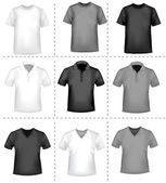 Black and white t-shirt design template. Photo-realistic vector illustratio — Stock Vector