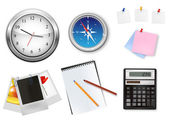 A clock, calculator and some office supplies. Vector. — Stock Vector