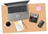 Notebook, calculator and office supplies. Vector. — Stock Vector