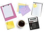 A clock, calculator and some office supplies. Vector. — Stock Vector
