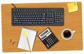Klavye ve ofis malzemeleri. vektör. — Stok Vektör